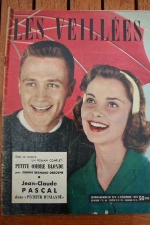 1959 Vintage Magazine Jean Claude Pascal Becassine