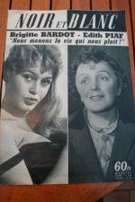 1959 Vintage Magazine Brigitte Bardot Edith Piaf