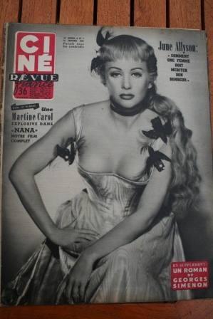1955 Martine Carol June Allyson Brigitte Bardot Widmark