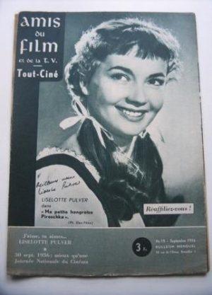 Vintage Magazine 1956 Liselotte Pulver On Cover