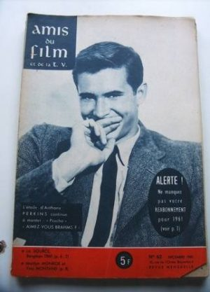 Vintage Magazine 1960 Anthony Perkins On Cover