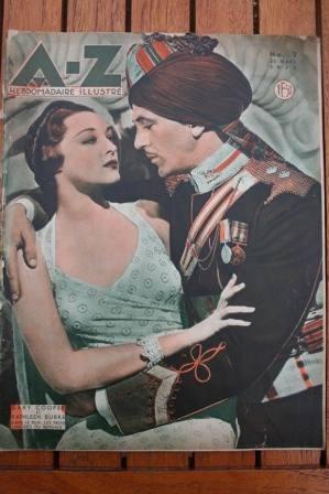 1935 Vintage Magazine Gary Cooper Kathleen Burke On Fro