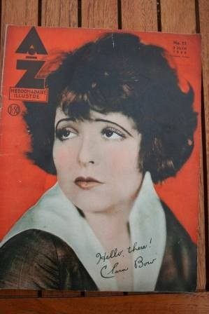 1934 Vintage Magazine Clara Bow On Front Cover