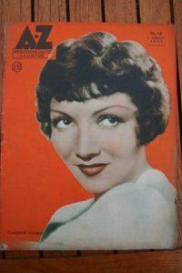 1934 Vintage Magazine Claudette Colbert On Front Cover