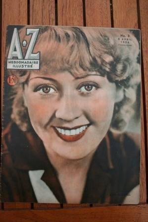 1934 Vintage Magazine Joan Blondell On Front Cover