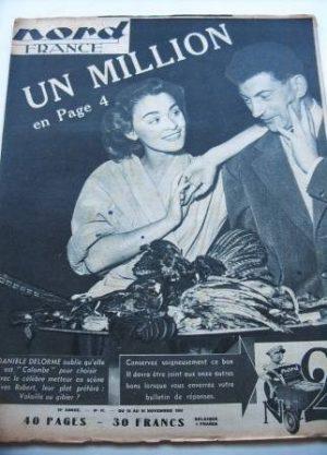 Rare Vintage Magazine 1953 Daniele Delorme Yves Robert