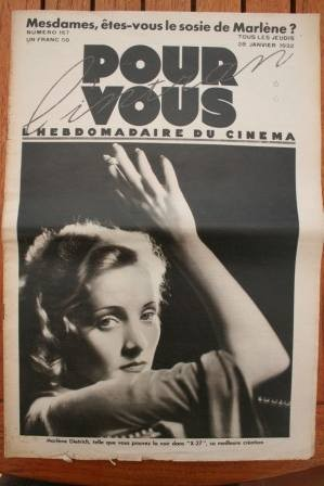 1932 Vintage Marlene Dietrich William S. Hart Chevalier